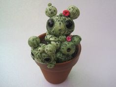 Cactus Family Creature Clay Green by PlayfulPixieCreation on Etsy