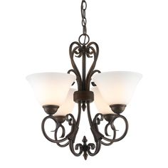 Homestead 4 Light Mini Chandelier in Rubbed Bronze with Opal Glass