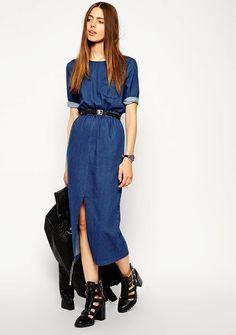 Midi Length Waited Denim T-shirt Dress via Love this casual look Denim Shirt Dress, Denim Outfit, Denim Dresses, Chambray Dress, Dress Outfits, Cool Outfits, Dress Up, Dress Clothes, Denim Fashion