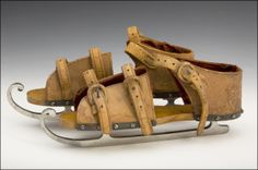 Ice Skates 1865, American, Made of flannel, leather, and wood