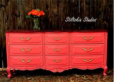 Saturated Coral Drexel Touraine French Provincial Dresser. $675.00, via Etsy.