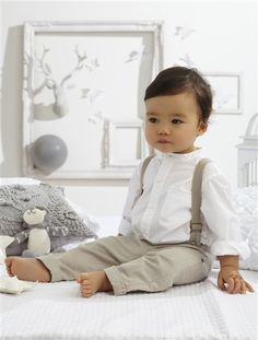 Baby Boy Shirt & trousers outfit WHITE LIGHT SOLID. Suspenders and pants this color but different shirt and add a bow tie.