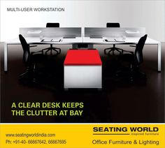 MULTI-USER WORKSTATION. A CLEAR DESK KEEPS THE CLUTTER AT BAY. #OfficeFurniture #OfficeLighting #Hyderabad SEATING WORLD: Office Furniture and lighting. E-mail: seatingwold@usa.net Sales Contact: office@seatingworldindia.com Ph: +91-40-66667642,66667695.