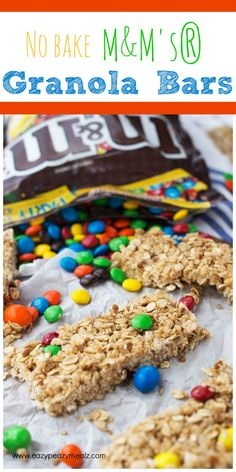No Bake M&M'S Granola Bars are an easy and tasty recipe for the on-the-go family!
