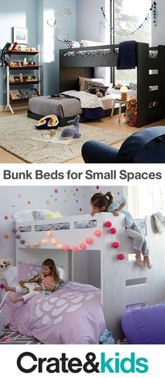 Two kids in one small room? Make sharing into an adventure with our space-saving bunk bed styles.