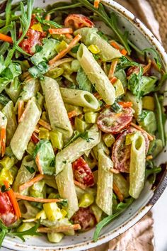 This mouthwatering Vegan Green Goddess Pasta Salad is sure to make all your past. This mouthwatering Vegan Green Goddess Pasta Salad is sure to make all your pasta salad dreams come true with its wholesome deliciousness! Pasta Salad Recipes, Healthy Salad Recipes, Whole Food Recipes, Vegetarian Recipes, Vegan Pasta Salads, Vegan Vegetarian, Free Recipes, Vegan Foods, Vegan Dishes