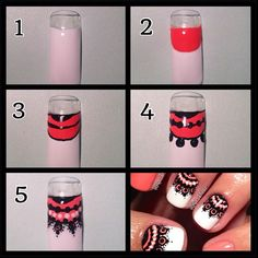 Solid white nails with coral & black free hand lace nail art tutorial, How to