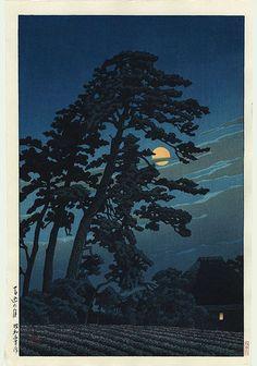 Hasui Kawase détail - Pleine lune à Magome 1930