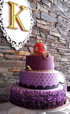 Descendants Maleficent's daughter birthday party cake! See more party planning ideas at CatchMyParty.com!