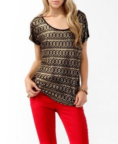 This looks awesome with red skinny jeans.  Metallic Tribal Print Top | FOREVER21 - 2017306671