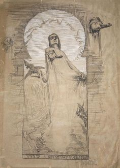 BZPStuck : uromancy: František Bílek - Vyjít a rozsévat. Art Nouveau, Vintage World Maps, Mystery, Museum, Fine Art, Sculpture, Painting, Charcoal, Pencil