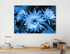 Discover «Cactus Flowers classic blue 1389», Numbered Edition Canvas Print by Barbara Fraatz - From $59 - Curioos Framed Art Prints, Canvas Prints, Welcome Gifts, Saturated Color, Cotton Canvas, Cactus, Tapestry, Wall Art, Classic