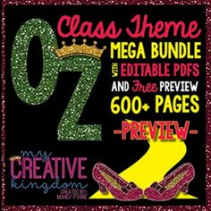 This EDITABLE PDF Wizard of Oz Classroom Theme Mega BUNDLE. It includes editable pdfs that don't need PowerPoint! Just type your text and print. That's it! Free preview includes poster & newsletter freebie!