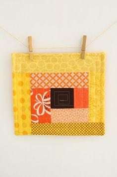 Modern yellow and orange Mini quilt - mug rug - mat - Large Coaster- Candle Mat - Handmade Wall Art - scrappy log cabin - hostess gift