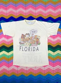 Vintage Garfield t shirt, 1980s thread bare tee, 80s Florida shirt, vintage Army t shirt, US Army, Jim Davis, distressed Garfield tee by SpacedOutMama on Etsy