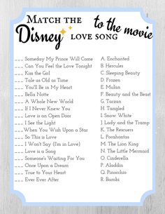 Baby Shower Songs Match the Disney Love Song to the Movie - Bridal Shower Game Template - Cinderel. Baby Shower Songs, Wedding Shower Games, Wedding Games, Shower Party, Disney Wedding Shower Ideas, Wedding Ideas, Wedding Disney, Disney Love Songs, Disney Stuff
