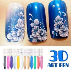 12 Colors/set 3D Nail Art Paint Drawing Pen Manicure Acrylic Pigment Decoration #UnbrandedGeneric