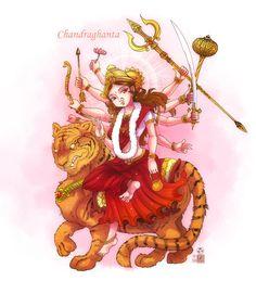 Chandraghanta mata by In-Sine on DeviantArt Durga Painting, Lord Shiva Painting, Kali Goddess, Goddess Art, Saraswati Goddess, Navratri Images, Durga Images, Happy Navratri, Devian Art