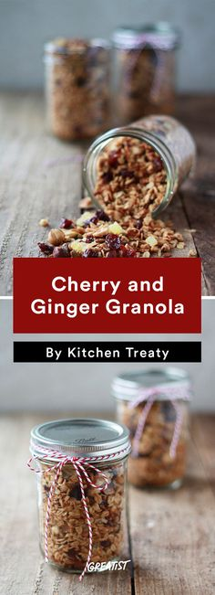 Cherry and Ginger Granola #edible #gifts http://greatist.com/eat/diy-holiday-gifts-to-give-when-you-are-broke