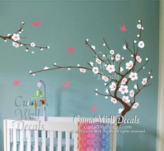 white cherry blossom  wall decals flower butterfly wall decals nursery wall decals wall mural vinyl- tree floral wall sticker art Z136 cuma on Etsy, $48.00