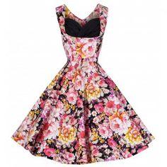 Ophelia Black Pink Floral Dress | Vintage Inspired Fashion - Lindy Bop