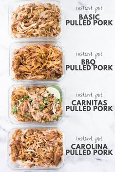 This Instant Pot Pulled Pork makes tender, juicy, and mild-flavored pulled pork that is perfect in any recipe that requires pulled pork including tacos, burritos, and sandwiches. Instant Pot Pulled Pork Easy Instant Pot Pulled Pork 4 Ways Bbq Pulled Pork Recipe, Making Pulled Pork, Pulled Pork Loin, Pull Pork, Easy Pork Butt Recipe, Pulled Pork Crockpot, Crockpot Shredded Chicken, Pulled Pork Instant Pot Recipe, Pulled Pork Seasoning