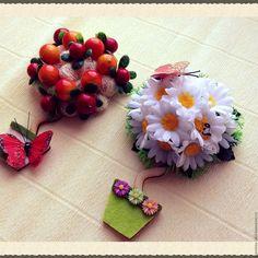 Купить Топиарий магнит - комбинированный, топиарий дерево счастья, магнит на холодильник, магнит, фрукты искусственные