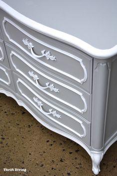 DIY Dresser Makeover French Provincial - Soft Gray and White dresser makeover - Thrift Diving