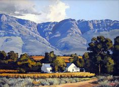 ted-hoefsloot-wine-farm Landscape Art, Landscape Paintings, Farmhouse Paintings, African Paintings, South African Artists, Faeries, Flower Art, Art Gallery, Pastel