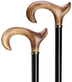 Men's Scorched Maple Anatomical Cane Solid scorched wood anatomical derby crook handle for the right or left hand, mounted strikingly on a beech wood shaft with a black stained finish and a clear coat Wooden Walking Sticks, Walking Sticks And Canes, Walking Canes, Cannes, Large Plastic Bags, Cane Handles, Cane Stick, Wooden Canes, Black Stains