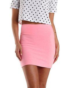 High-Waisted Bodycon Mini Skirt: Charlotte Russe #skirt #pink #bodycon