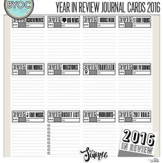 Created in co-ordination with the December 2016 BYOC - these simple yet practical cards for your Year in Review layouts will be a great way to highlight bits of information for each of your family members!  Included are 12 3x...