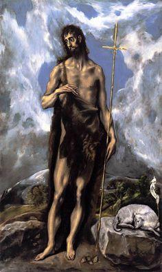 """EL Greco: """"St. John the Baptist"""",1600. (Fine Arts Museums of San Francisco, San Francisco, CA, USA.) http://www.famsf.org/?gclid=CNDTwfqDysQCFaEF7Aod-TYAmQ"""