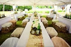 Straw bale reception benches