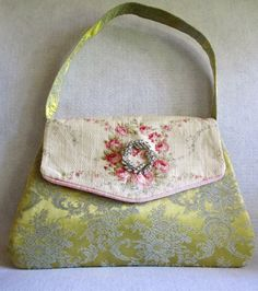 Vintage Brocade and Pink Barkcloth Handbag Rose by LadidaHandbags, $72.00