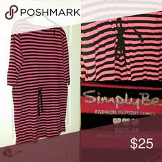 Striped summer dress Pink and black striped, tie waist dress. Worn once. Perfect condition. 3/4 sleeve  Style with keds ? Simply Be Dresses Long Sleeve