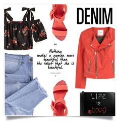 """""""DENIM"""" by fabiolamoroni ❤ liked on Polyvore featuring Essie, MANGO, Pour La Victoire and Gucci"""