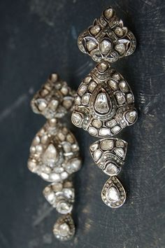 RONA PFEIFFER Long diamond earrings* Rose cut and pave diamond earrings set in sterling silver .925 and 14K gold backing