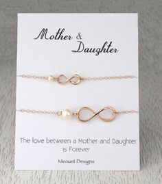 10% Sale Mother and Daughter Necklace Rose Gold by MenuetDesigns