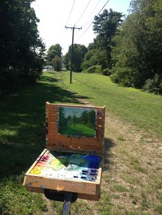 Plein Air in Noroton Heights. There will be two more paintings to be done of this same location after that small painting.