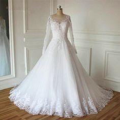 Lace Appliques Long Sleeve A Line Wedding Dress