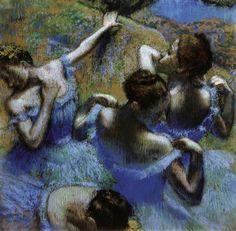 """Dancers in blue"" ""Danseuses en bleu"" (1898) By Edgar Degas, from Paris (1834 - 1917) - pastel on paper - [Impressionism] © Pushkin State Museum of Fine Art, Moscow"