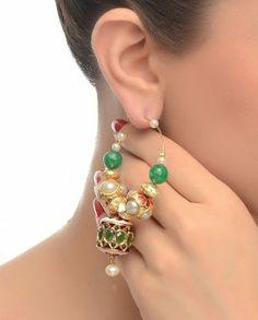 Hoop Earrings with Golden Discs