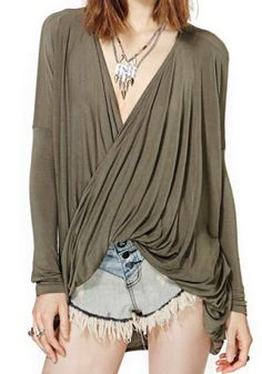 Sexy Plunging Neck Long Sleeve Solid Color Ruffled Loose-Fitting Women's T-Shirt