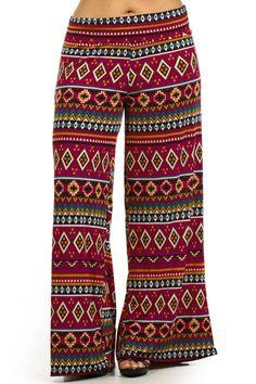 Plus Size Summer Tribal Print Wide Leg High Waist Fold Over Palazzo Pants