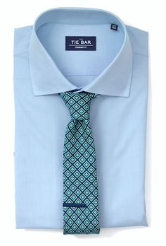 Solid Blue Shirt & Green Tie