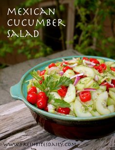 A simple Mexican cucumber salad, tasty enough to share with friends