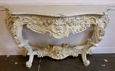 """60""""x20x36 White Baroque Hand Carved Table $1205 