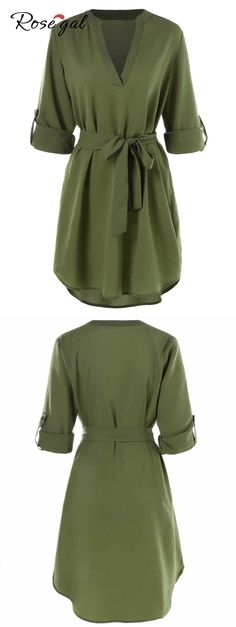 Free shipment worldwide, up to 70% off, Belted Long Sleeve Casual Dress - Army Green | rosegal,t shirt dresses,long sleeves dresses,casual dress,summer dresses,army green,casual outfits,summer outfits,chic,fashion,trends | #rosegal #dress #tshirt #summeroutfits