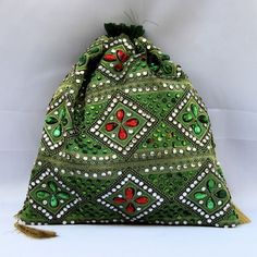 Green Full Stone Work Potli (Click To Buy | Only Rs 350)